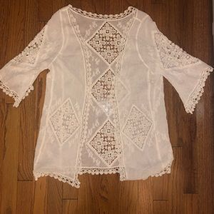 Linen lace looking top